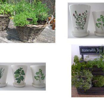Potten, manden en rekjes voor kruiden en planten