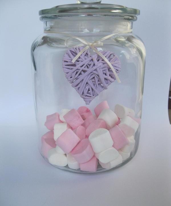 glazen voorraadpot groot 22x22x31cm roze hart vol