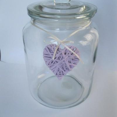 glazen voorraadpot groot 22x22x31cm roze hart
